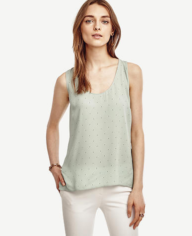 Image of Dotted Georgette Hi-Lo Tank