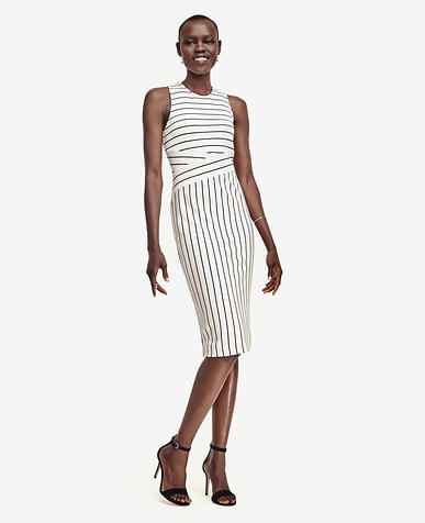 Image of Petite Striped Knit Sheath Dress