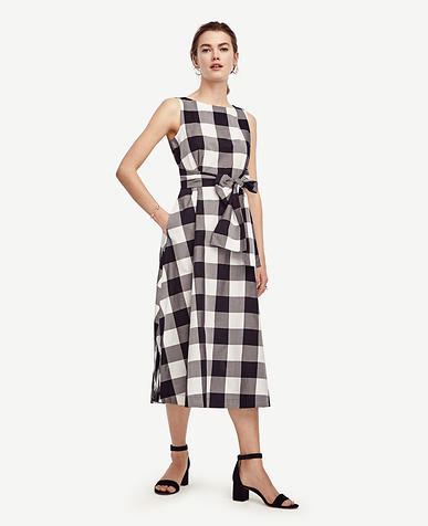 Image of Petite Gingham Belted Pocket Dress