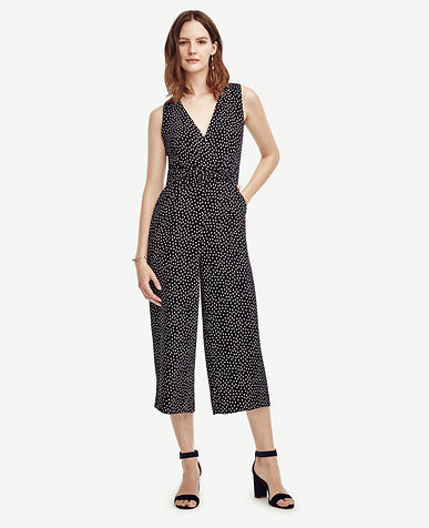 Image of Petite Dotted Sleeveless Jumpsuit