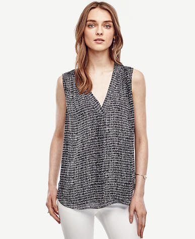 Image of Petite Dash Print Shirred Shell