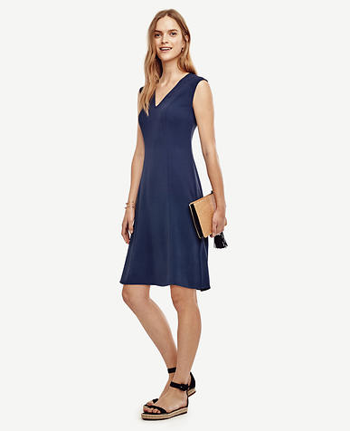 Image of Petite V-Neck Flare Dress