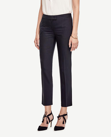 Image of Pinstripe Tropical Wool Ankle Pants