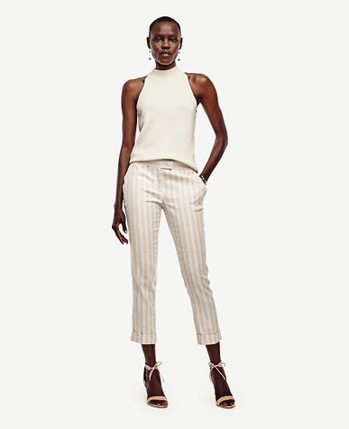 Image of Stripe Cuffed Everyday Slim Ankle Pants