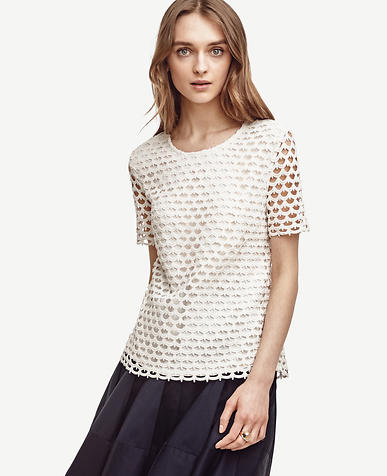 Image of Petite Scalloped Lace Tee
