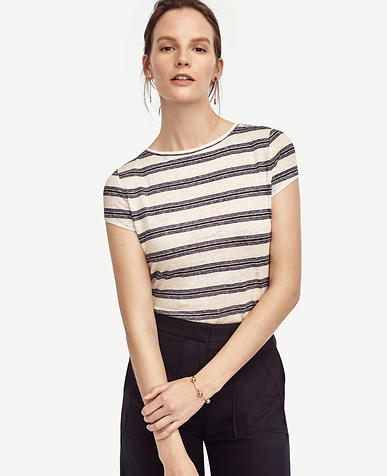 Image of Striped Linen Boatneck Tee