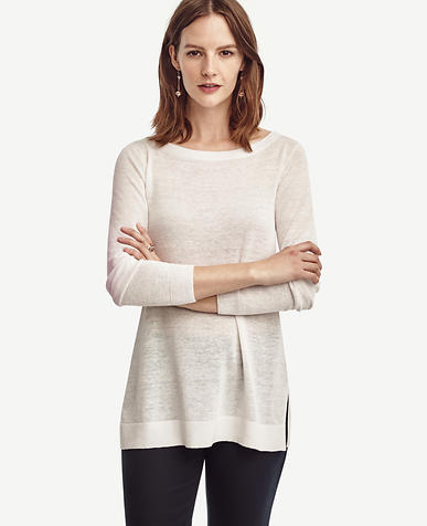 Image of Linen Blend Boatneck Tunic