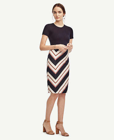 Image of Striped Ponte Pencil Skirt