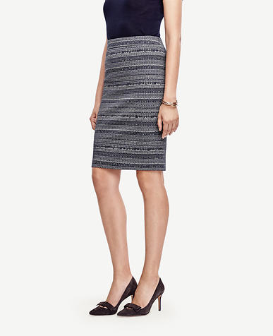 Image of Striped Tweed Pencil Skirt