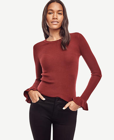 Image of Extrafine Merino Wool Ruffle Cuff Sweater
