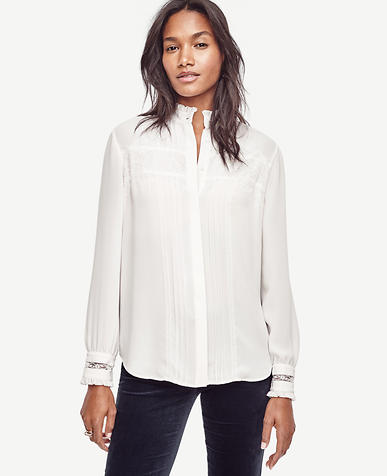 Image of Lace Tipped Blouse