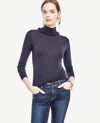 Image of Ruffle Turtleneck Pullover