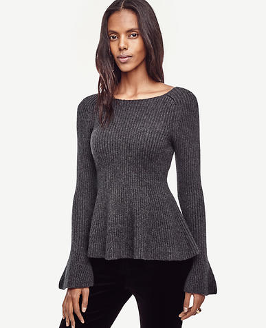 Image of Bell Sleeve Peplum Sweater