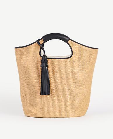 Image of Straw Tassel Bucket Bag