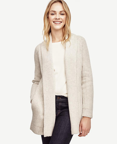 Image of Cashmere Ribbed Open Cardigan