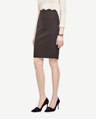 Image of Scalloped Waist Pencil Skirt