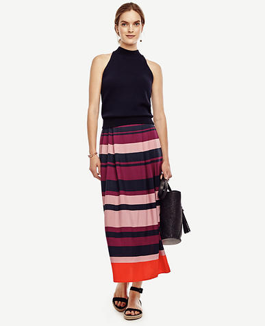 Image of Stripe Pleated Midi Skirt