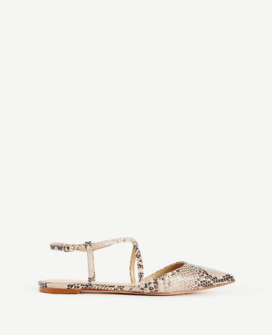 Image of Wren Crossover Exotic Embossed Leather Slingback Flats