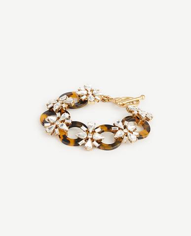 Image of Tortoiseshell Print Crystal Link Bracelet
