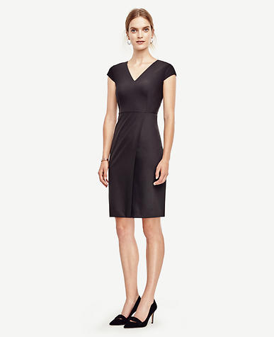 Image of Tropical Wool V-Neck Sheath Dress