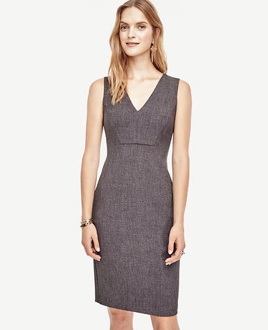 Image of Seamed V-Neck Sheath Dress
