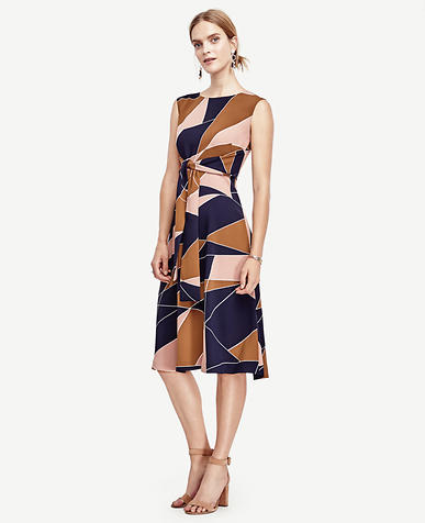 Image of Petite Modern Geo Tie Waist Dress