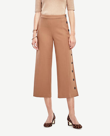 Image of Side Button Cropped Pants