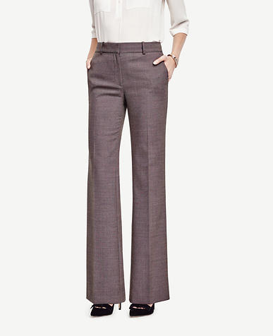 Image of Petite Birdseye Tropical Wool High Waist Flare Trousers