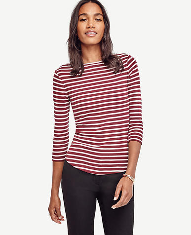 Image of Stripe Cotton Boatneck Tee