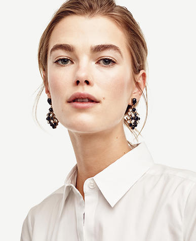 Image of Crystal and Stone Drop Earrings