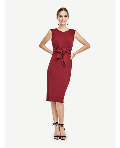 Image of Tie Front Sheath Dress