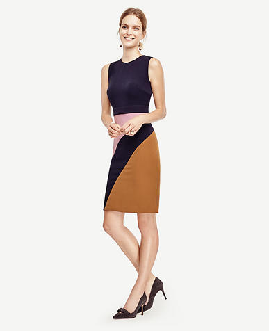 Image of Abstract Colorblock Sheath Dress