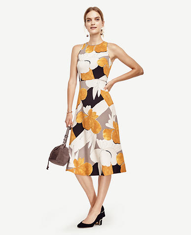 Image of Mixed Floral Fit and Flare Dress