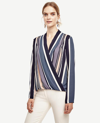Image of Stripe Silky Wrap Blouse