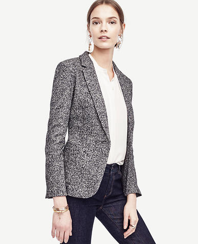 Image of Petite Mixed Tweed One Button Blazer