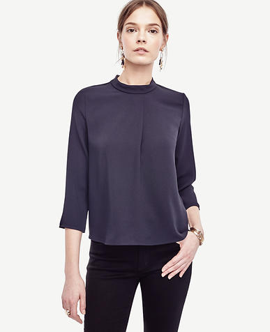Image of Pleated Mock Neck Top