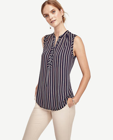 Image of Striped Sleeveless Blouse