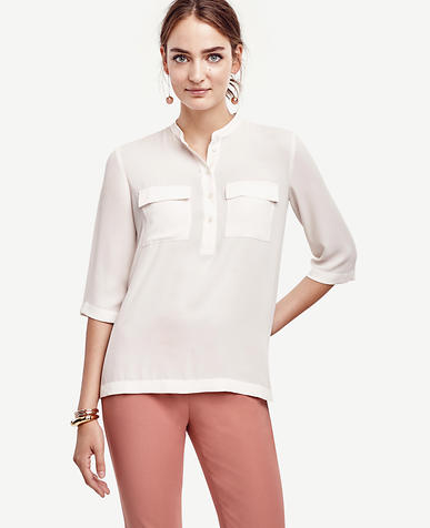 Image of Petite Collarless Camp Popover