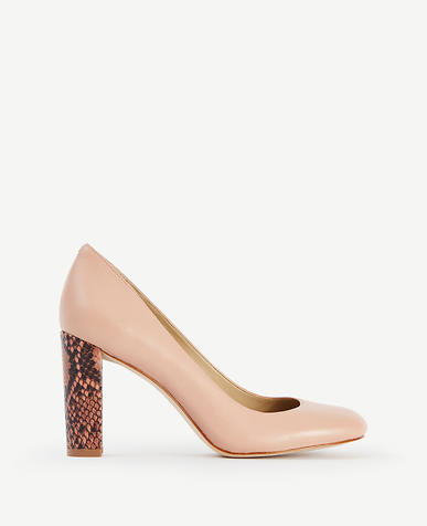 Image of Drea Block Heel Leather Pumps