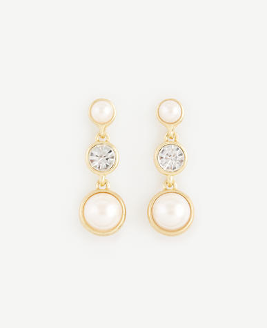 Image of Pearlized Crystal Cabochon Drop Earrings