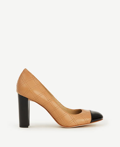 Image of Alma Quilted Leather Cap Toe Pumps