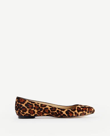 Image of Claya Leopard Print Haircalf Flats