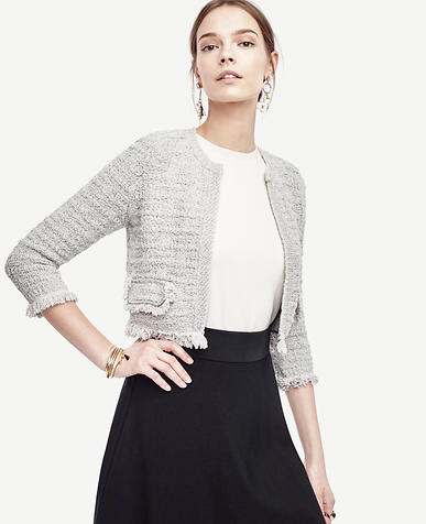 Image of Cropped Knit Tweed Jacket