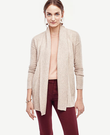 Image of Ribbed Trim Open Cardigan