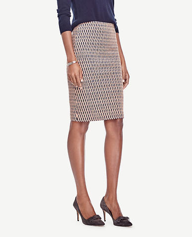 Image of Scalloped Jacquard Pencil Skirt