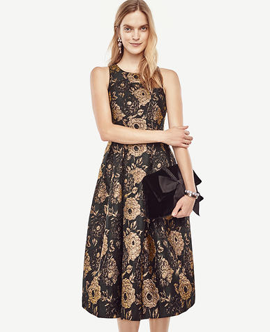 Image of Gilded Blossom Flare Dress