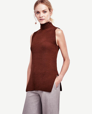 Image of Petite Sleeveless Turtleneck Tunic