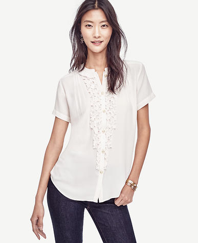 Image of Ruffle Short Sleeve Blouse