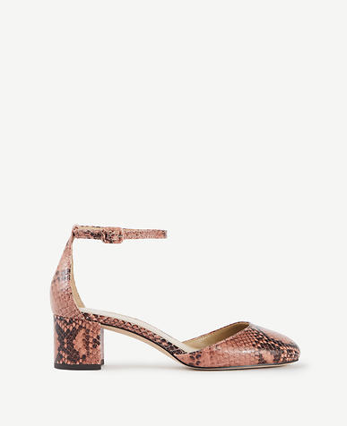 Image of Haley Exotic Embossed Leather Ankle Strap Heels