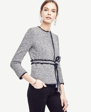 Image of Belted Tweed Jacket